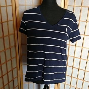 Polo Ralph Lauren Navy Striped V-NECK Size Large
